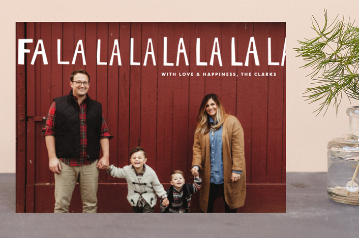 """Handlettered Fa La La La La"" - Funny, Full-Bleed Photo Holiday Postcards in Snow by Dean Street."
