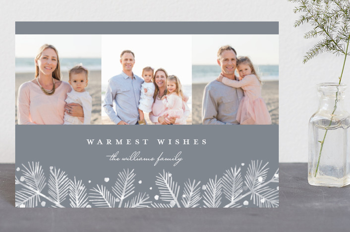 """""""Winterland Pine"""" - Holiday Postcards in Slate by Paper Dahlia."""
