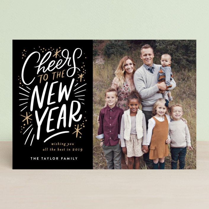 """Cheers to the new year lettering"" - Holiday Postcards in Noir by Alethea and Ruth."