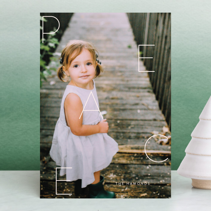 """""""Spread Peace"""" - Holiday Postcards in Blush by Jessica Maslyn."""