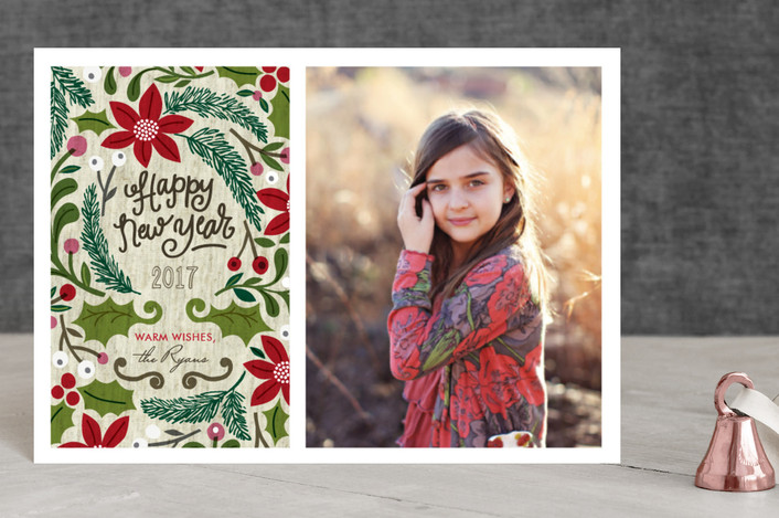 """""""Sketchbook Foliage"""" - Hand Drawn, Hand Drawn Holiday Postcards in Red Holly by Alethea and Ruth."""