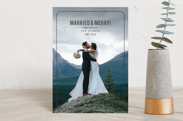 """Married and Merry"" - Elegant, Full-Bleed Photo Holiday Postcards in Charcoal by Sara Hicks Malone."