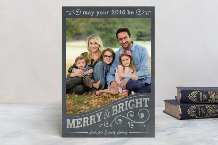 """""""Vintage Frame"""" - Elegant, Vintage Holiday Postcards in Chalkboard by GeekInk Design."""