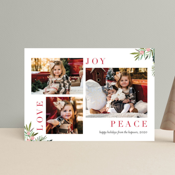"""""""Magazine Collage"""" - Holiday Postcards in Cranberry by Petra Kern."""