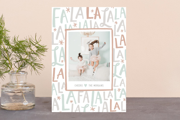 """Festive FaLaLa"" - Holiday Postcards in Mint by Hooray Creative."