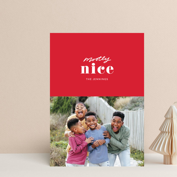 """Almost Nice"" - Funny Holiday Postcards in Cherry by Itsy Belle Studio."