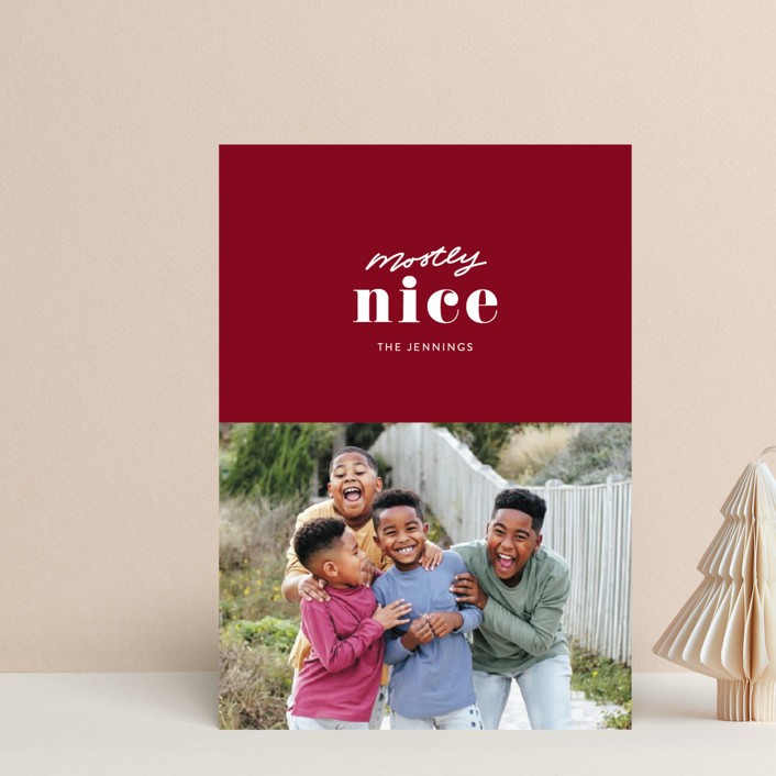 """""""Almost Nice"""" - Funny Holiday Postcards in Cranberry by Itsy Belle Studio."""