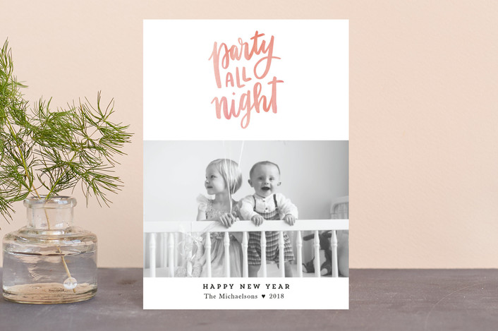 """Party All Night"" - Funny Holiday Postcards in Pumpkin by Up Up Creative."