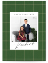 This is a green christmas postcard by Danie Romrell called Farmhouse Plaid with standard printing on signature in postcard.