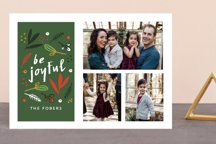 """""""Be Joyful Nature Multi"""" - Holiday Postcards in Forest by Erika Firm."""