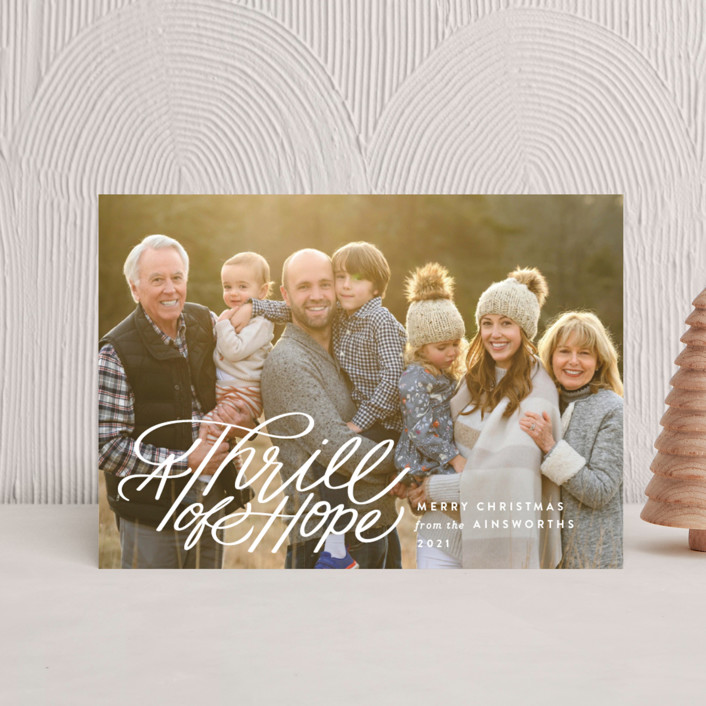 """""""Hope Script"""" - Bohemian Holiday Postcards in Snowdrift by Jill Means."""
