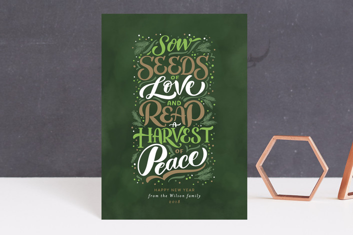 """Peace Harvest"" - Holiday Postcards in Olive by Laura Bolter Design."