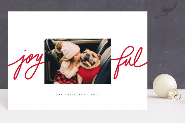 """""""Playful Joy"""" - Modern Holiday Postcards in Peppermint by Lori Wemple."""