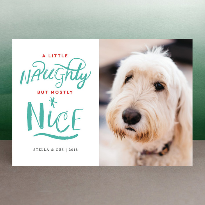 """""""A Little Naughty"""" - Funny Holiday Postcards in Candy Cane by Kelly Nasuta."""