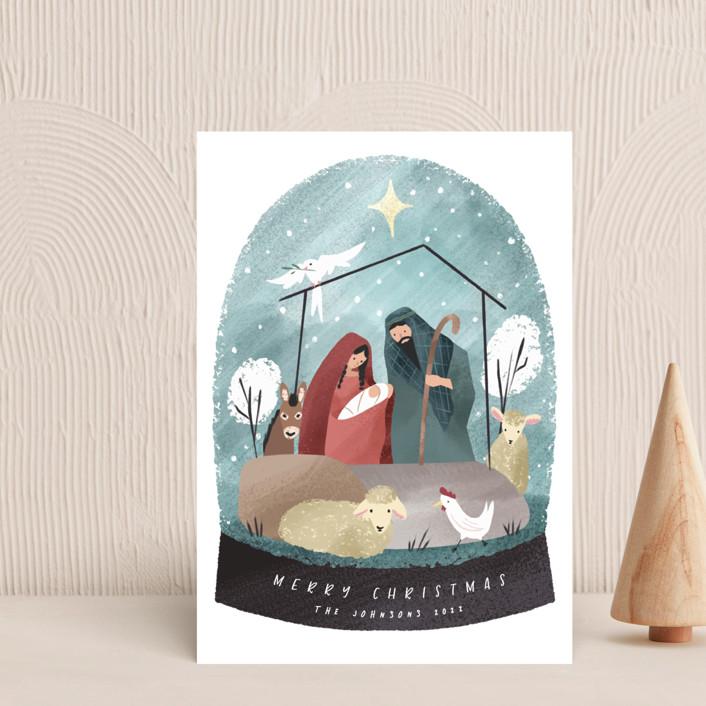 """Nativity Snow Globe"" - Bohemian Holiday Postcards in Sky by Grae."
