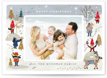 This is a grey christmas postcard by Morgan Ramberg called A Little Cheer with standard printing on signature in postcard.