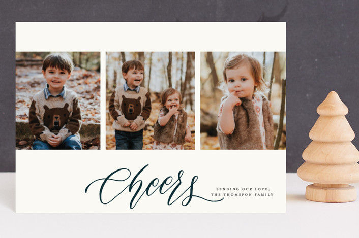 """Multi Frame Script"" - Holiday Postcards in Navy by Grace Kreinbrink."
