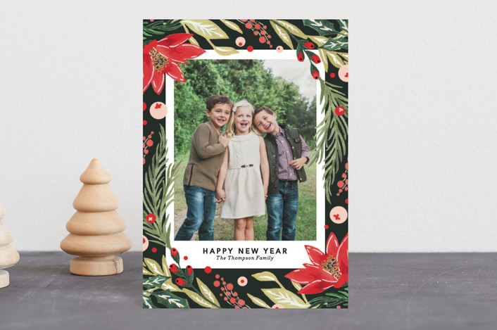 """""""Painted holiday Florals"""" - Holiday Postcards in Fir by Kristen Smith."""