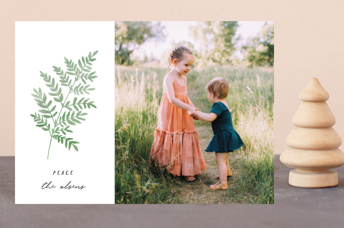 """painted fern"" - Holiday Postcards in Winter Sage by annie clark."