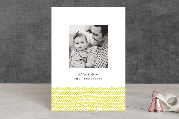"""""""Hand Drawn Herringbone"""" - Holiday Postcards in Yellow by Olivia Kanaley."""