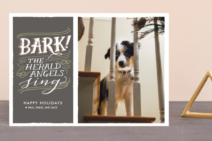 """Bark!"" - Funny Holiday Postcards in Charcoal by Laura Condouris."