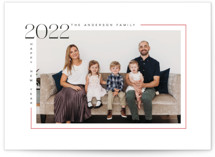 This is a red christmas postcard by MC Designs called Aesthetic New Year with standard printing on signature in postcard.
