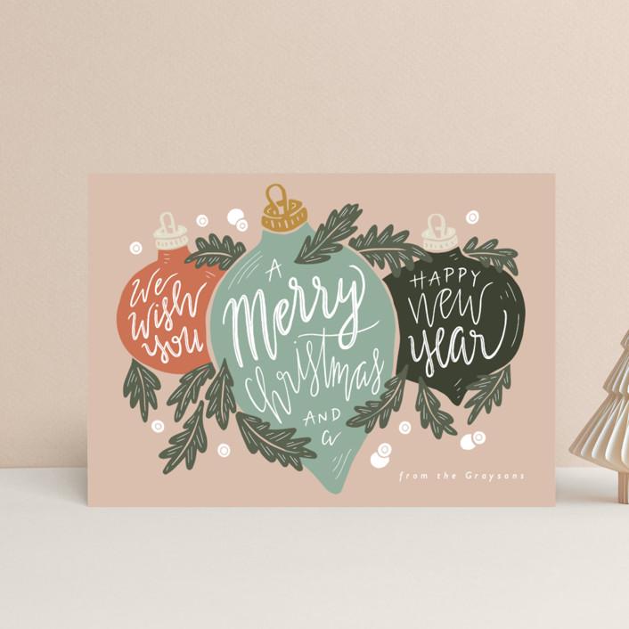 """""""Ornament Trio"""" - Holiday Postcards in Juniper by Gratia Design Co.."""