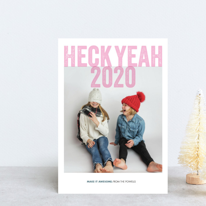 """Heck Yeah"" - Funny Holiday Postcards in Blush by Eric Clegg."