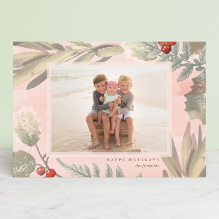 """Pastel Holly"" - Bohemian Holiday Postcards in Blush by Baumbirdy."