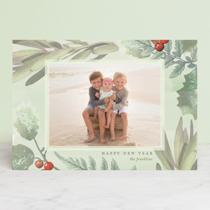 """Pastel Holly"" - Bohemian Holiday Postcards in Sour Apple by Baumbirdy."
