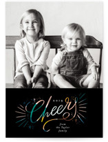 This is a black christmas postcard by Alethea and Ruth called Cheers glow with standard printing on signature in postcard.