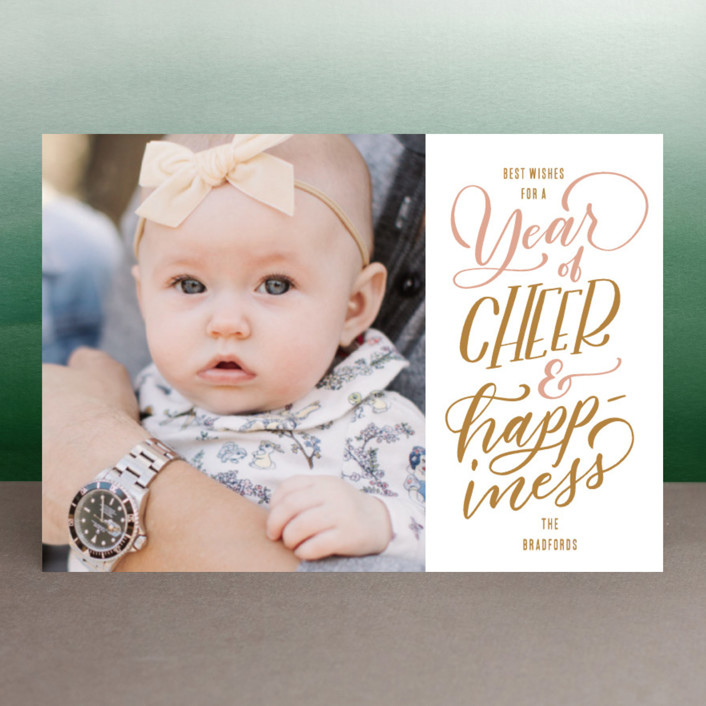 """Cheer and Happiness"" - Holiday Postcards in Blush by Leah Bisch."
