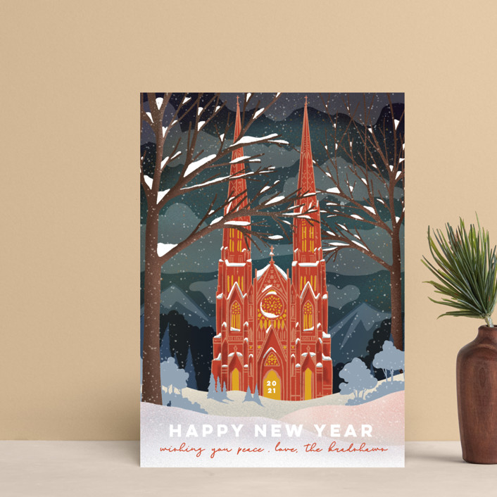 """""""Winter Cathedral"""" - Vintage Holiday Postcards in Cardinal by Becky Nimoy."""