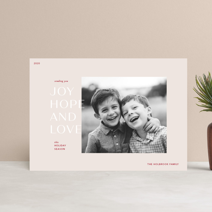 """""""Season for Love"""" - Modern Holiday Postcards in Toasted Almond by Mere Paper."""