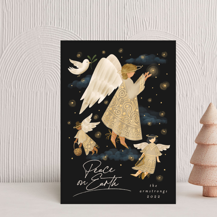 """""""Holiday Wishes"""" - Bohemian Holiday Postcards in Cinnamon by Grae."""