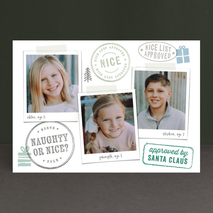 """""""Nice List Approved"""" - Funny Holiday Postcards in Winter Green by Hooray Creative."""