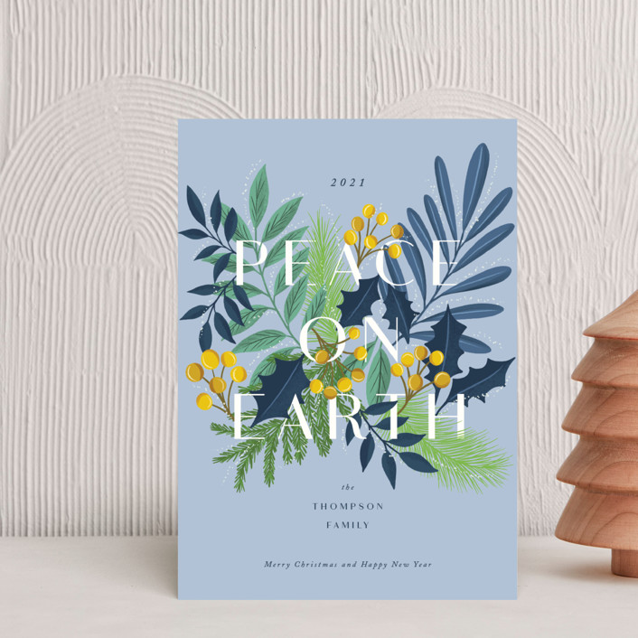 """""""Abundant peace on earth"""" - Holiday Postcards in Blue Bell by Yaling Hou Suzuki."""