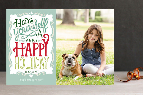 Merry Typography Holiday Postcards