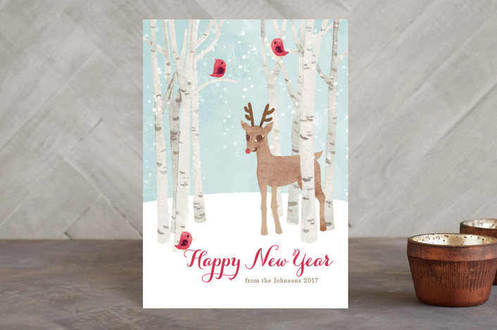 """Reindeer in the Snow"" - Holiday Postcards in Wheat by Four Wet Feet Studio."