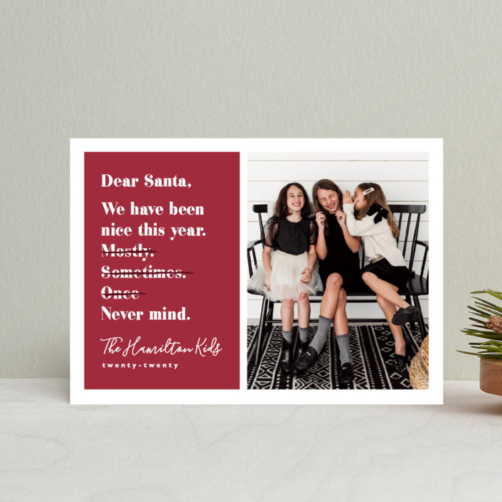"""""""Never mind"""" - Funny Holiday Postcards in Berry by Hudson Meet Rose."""