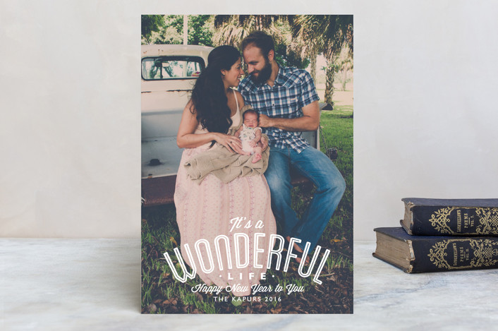 """A Wonderful Life"" - Simple, Full-Bleed Photo Holiday Postcards in Snow by Alston Wise."