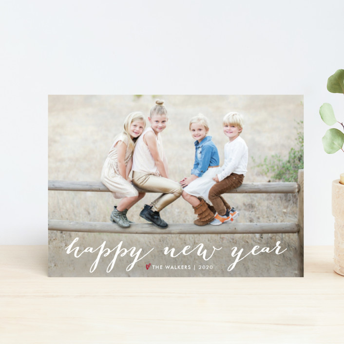 """""""Simple Joy"""" - Full-Bleed Photo, Modern Holiday Postcards in Snow by Fig and Cotton."""