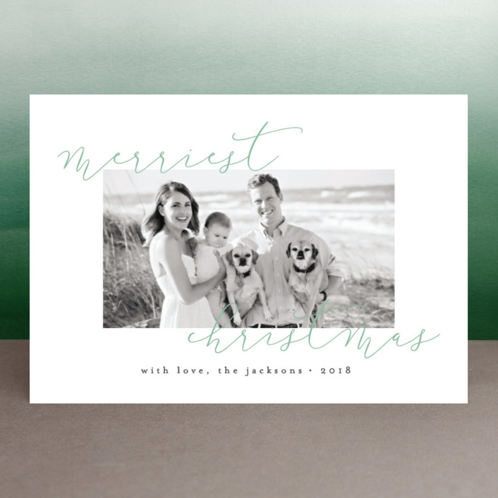 """""""Merriest Modern"""" - Holiday Postcards in Wintergreen by peony papeterie."""