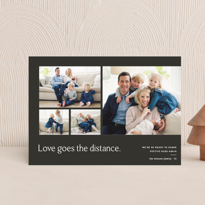 """""""Love Knows No Distance"""" - Modern Holiday Postcards in Terracotta by Blustery August."""