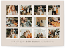 This is a beige christmas postcard by Lori Wemple called Photo Frames with standard printing on signature in postcard.