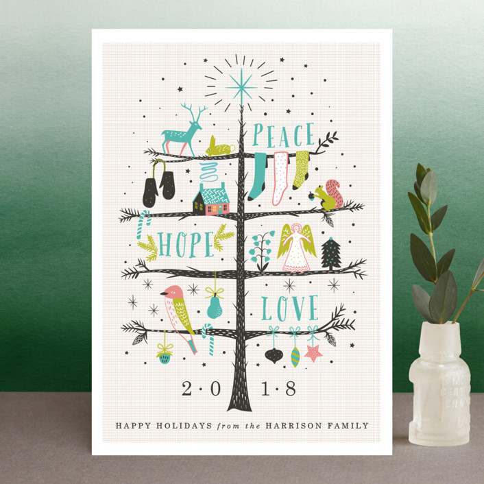 """""""Holiday Tree"""" - Holiday Postcards in Teal by Eve Schultz."""