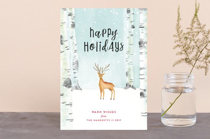 """""""Peaceful Forrest"""" - Holiday Postcards in Winter Sky by Petra Kern."""