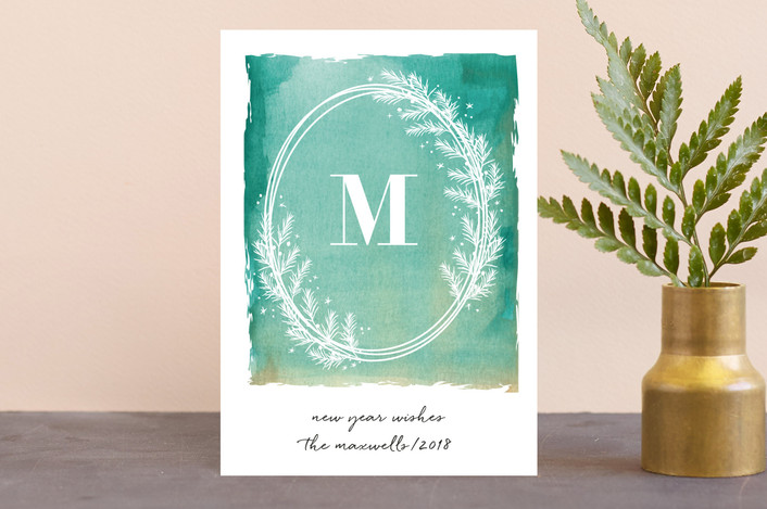 """Monogram Wreath"" - Holiday Postcards in Fresh Herb by Kate Ross."