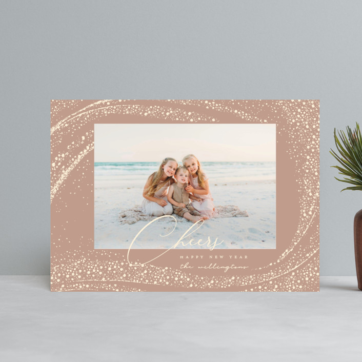 """""""Cheer Rays"""" - Bohemian Holiday Postcards in Blush by Vivian Yiwing."""