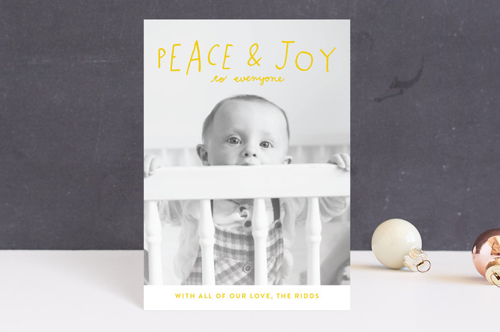 """""""Hand Lettered Peace and Joy"""" - Holiday Postcards in Canary by Allison Cornu."""